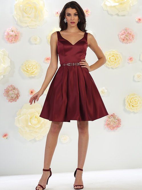 Burgundy Satin Short Dress Size 6