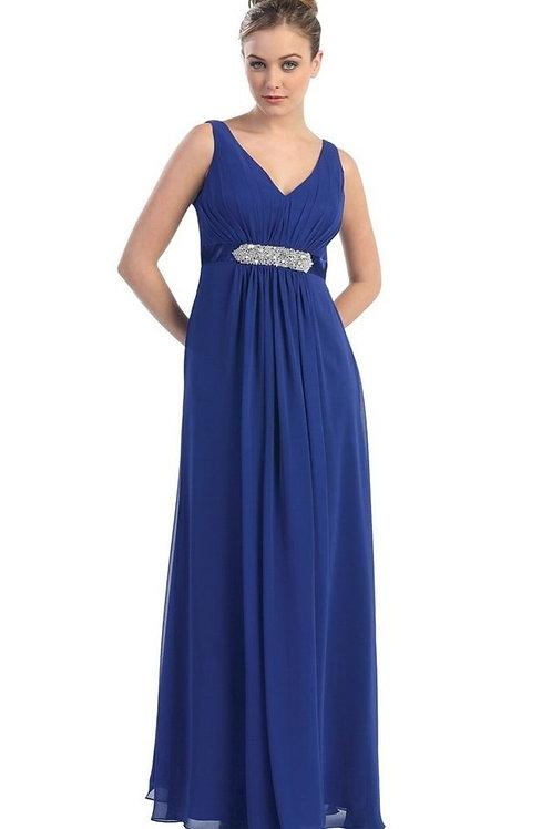 Royal Blue Belted Long Dress Size 26