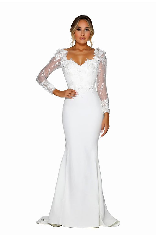 White Bridal Gown with 3D Floral Lace Size 12
