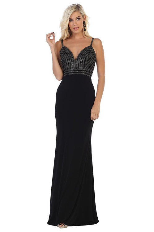 Black Beaded Long Dress Size 6