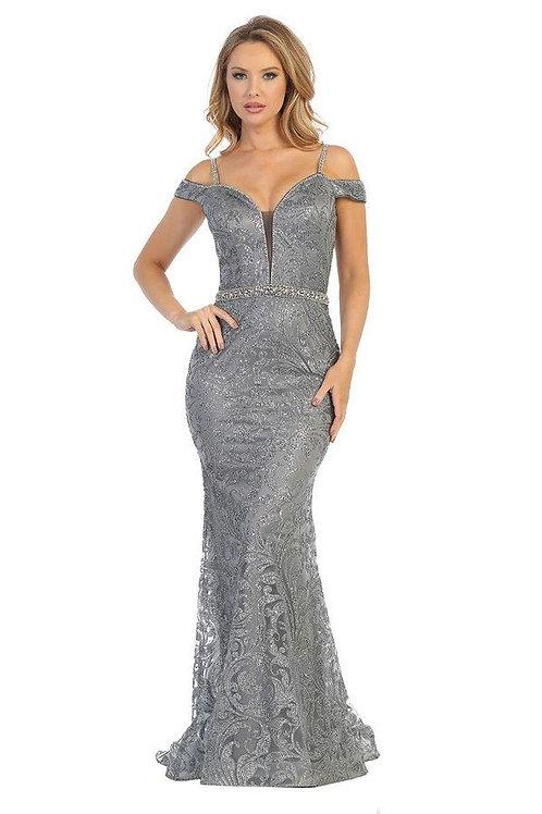 Charcoal Glitter Fit & Flare Long Formal Dress