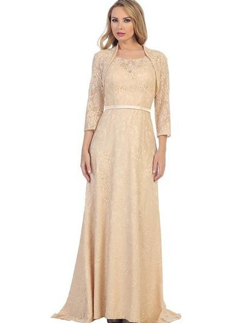 Champagne Lace Long Dress With Lace Jacket Size L