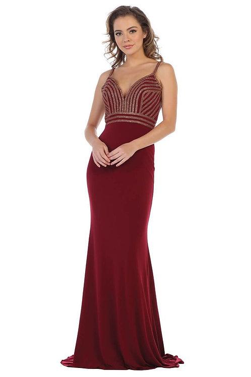 Burgundy Jeweled Long Dress Size 8