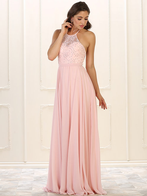 Blush Halter Top Long Dress Size 18