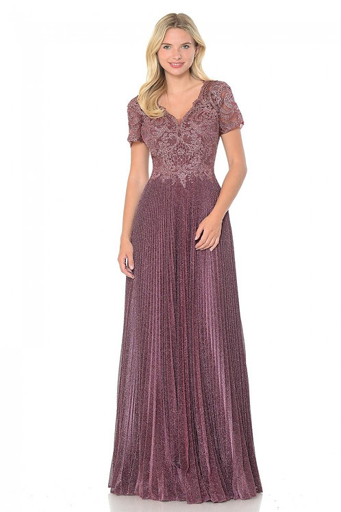 Mauve Embroidered Short Sleeve Long Formal Dress Size 3XL
