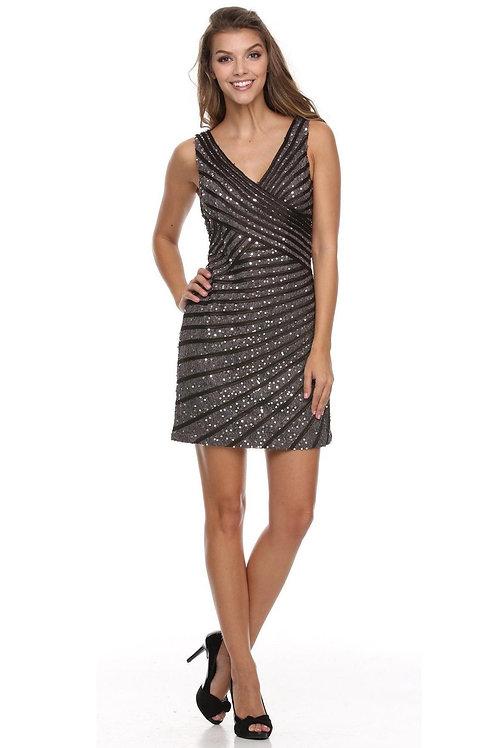 Charcoal Glitter Short Dress Size 4XL