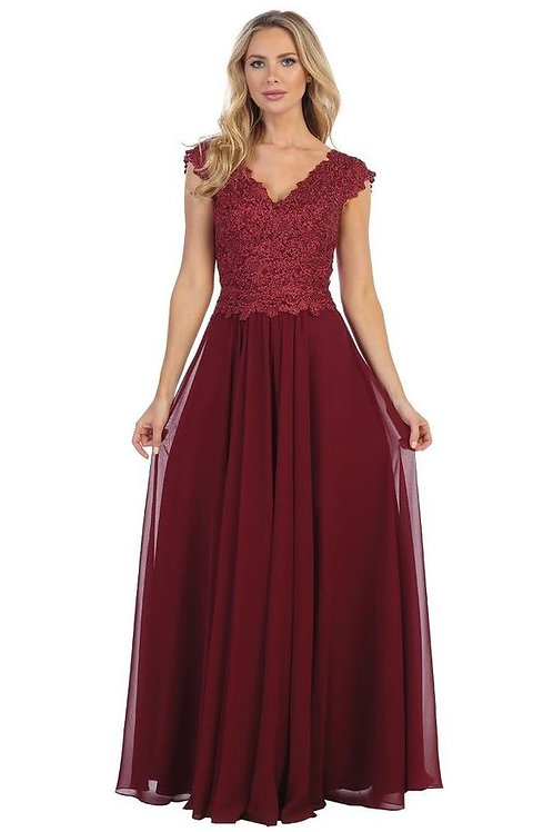 Burgundy Lace Top Long Dress Size S
