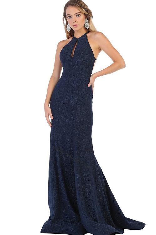 Navy Glitter Long Dress Size 6