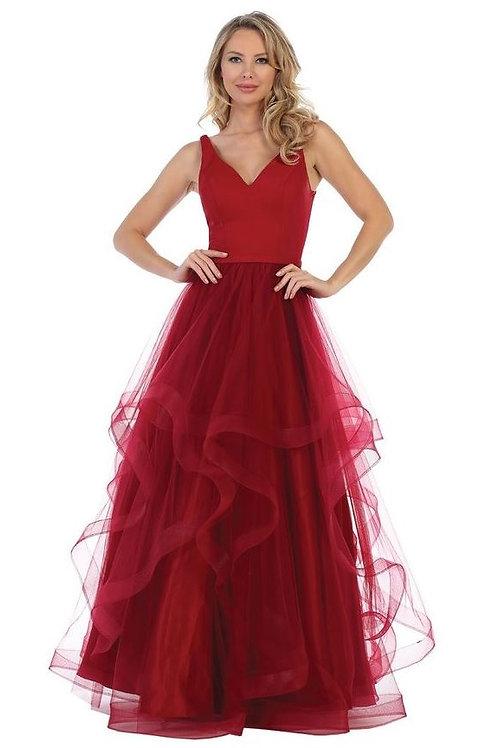 Burgundy Layered Long Dress Size L