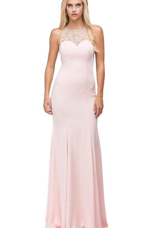 Blush Jeweled High Neck Long Dress Size XS, M