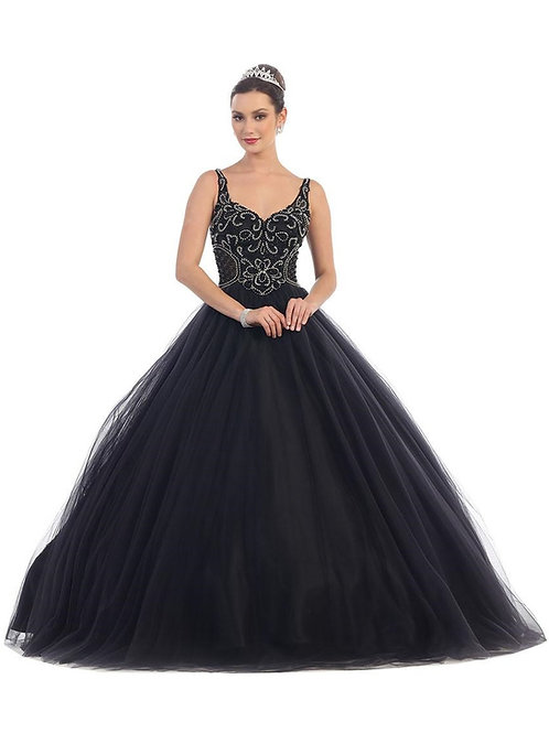 Black Beaded Ball Gown Size 10