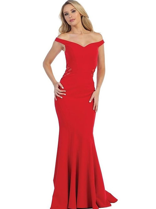 Red Illusion Sides Long Dress Size 2XL