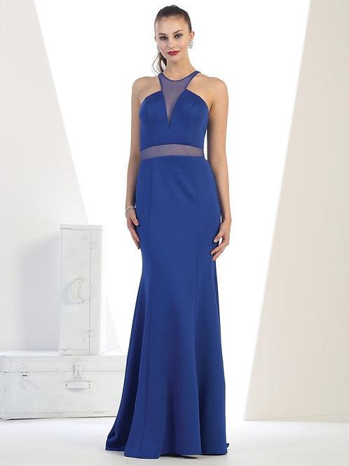Royal Blue Illusion Long Dress Size 4
