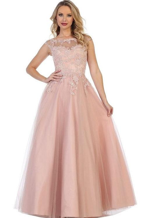 Mauve Lace Applique Ballgown Size L