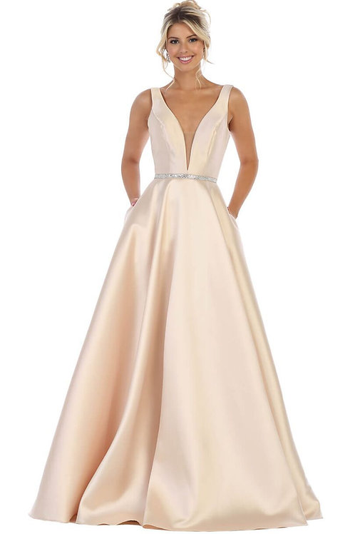 Champagne Deep V-Neck A-Line Gown
