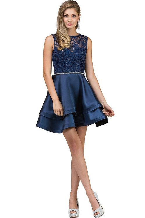 Navy Lace Top Short Dress Size L