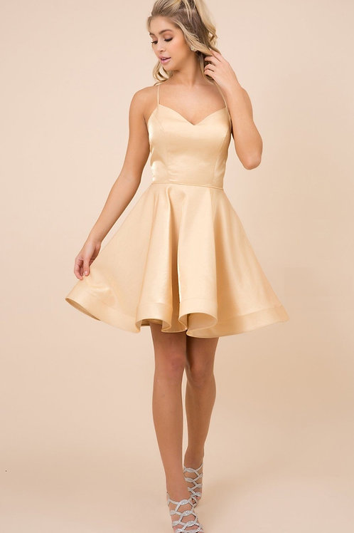 Gold Satin Short Dress Size S