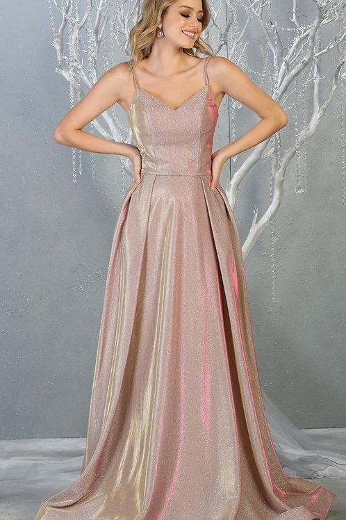 Rose Gold Glitter Long Dress Size 12