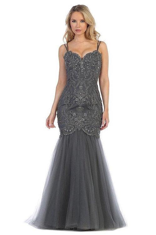 Charcoal Beaded Mermaid Long Dress Size 3XL