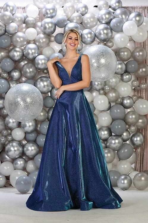 Royal Blue Metallic Long Dress Size 20