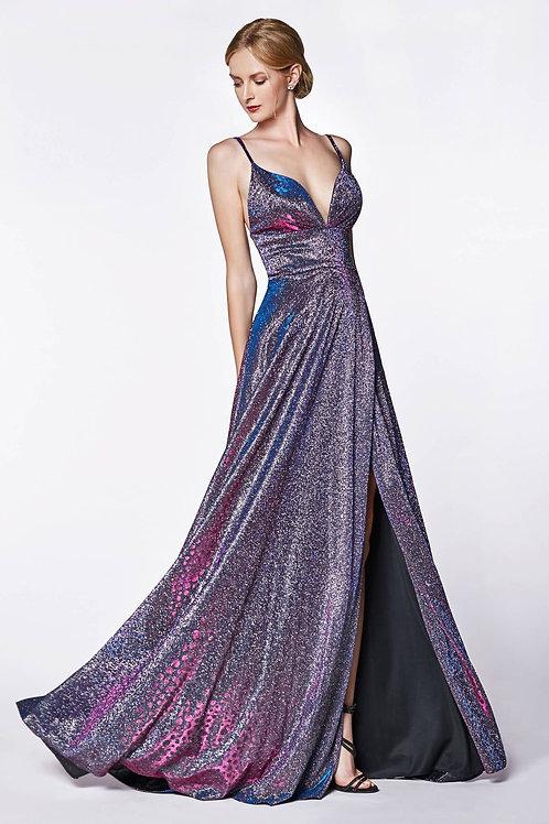 Purple Metallic Long Dress Size 4, 8