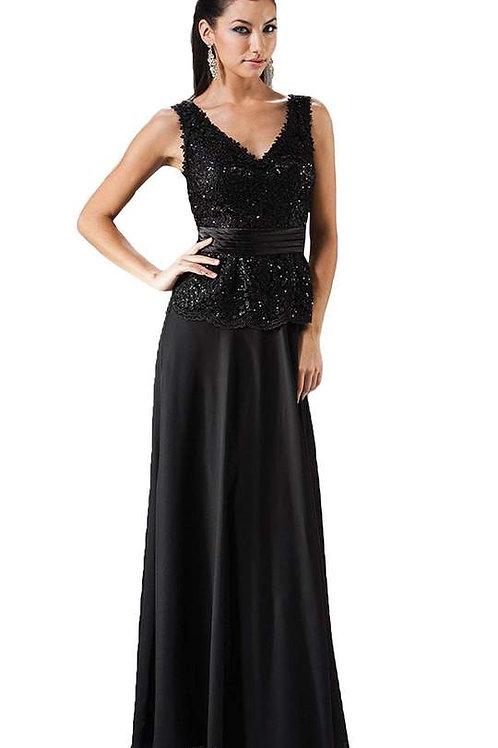 Black Beaded Long Dress Size M