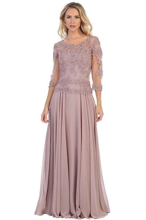 Mauve 3/4 Sleeve Long Dress Size 2XL