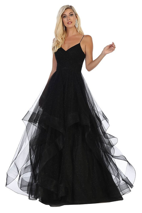 Black Sparkle A-Line Gown With Tulle Layers