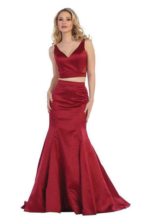 Burgundy Two Piece Long Dress Size 2XL