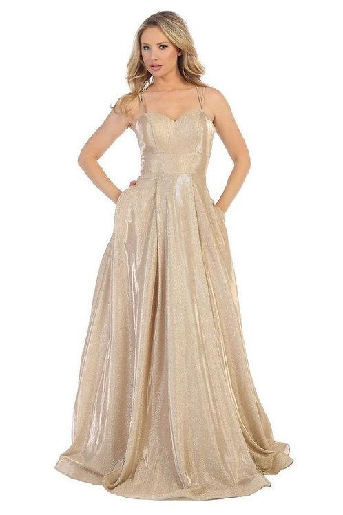 Gold Metallic Long Dress