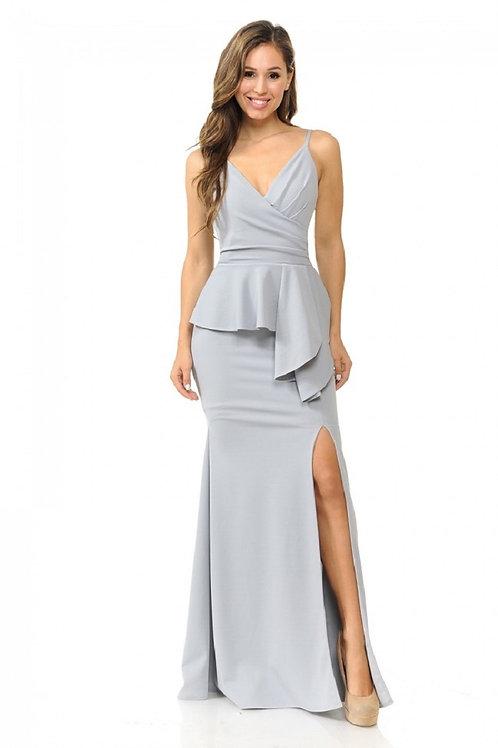 Silver Draped Long Dress Size L