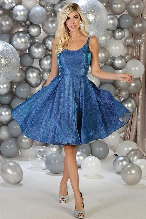 Royal Blue Metallic Short Dress Size 6