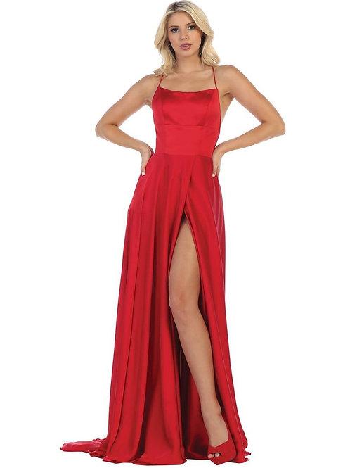Red Satin Long Dress Size 4