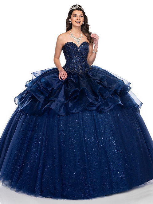 Navy Organza Ball Gown Size 6