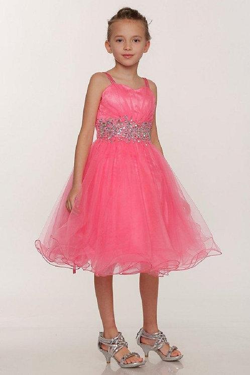 Girls Coral Embellished Short Dress Size 10