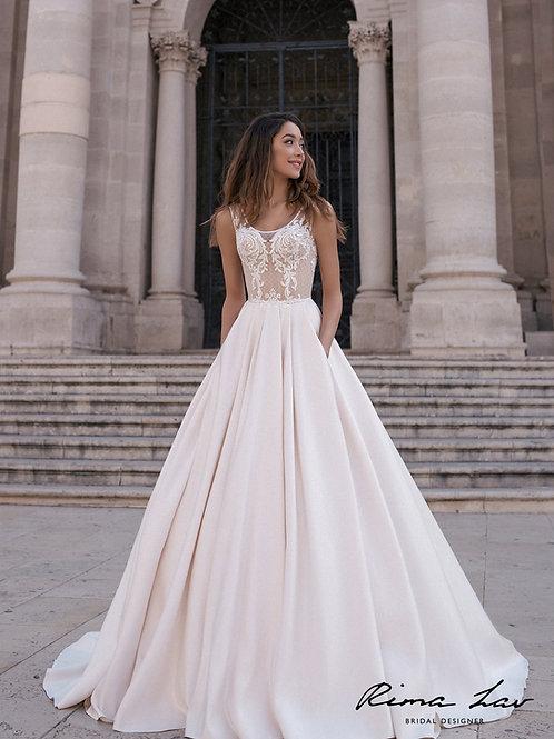 Cream Peach A-Line Bridal Gown Size 2