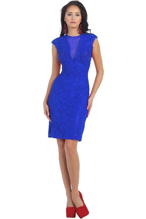 Royal Blue Lace Short Dress Size 10