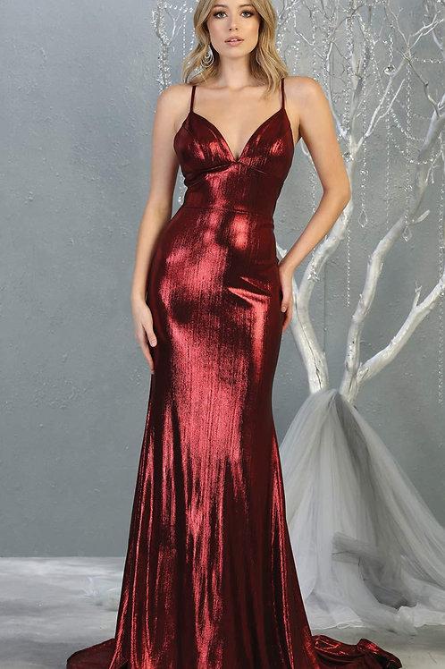Burgundy Metallic Long Dress Size 2