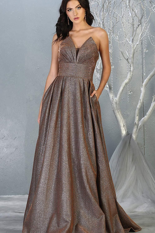 Bronze Metallic Strapless Dress Size 8