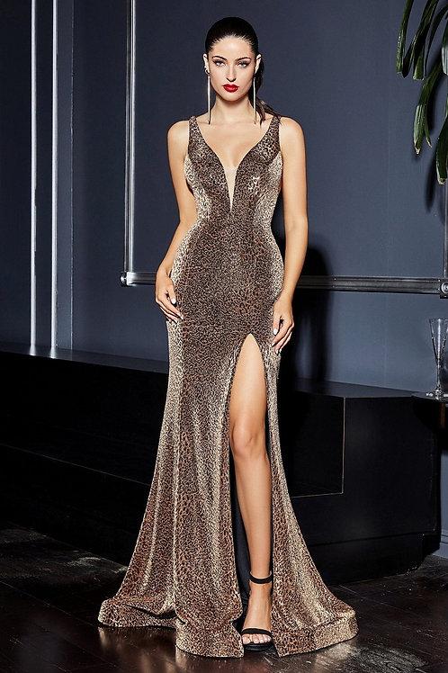 Leopard Metallic Fit & Flare Long Dress Size 8