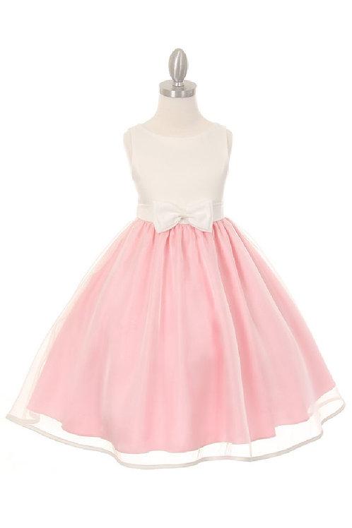 Girls Pink & Ivory Short Dress Size 10
