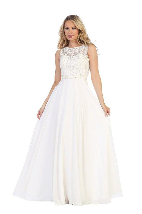 Ivory A-Line Semi Formal Bridal Gown Size XS