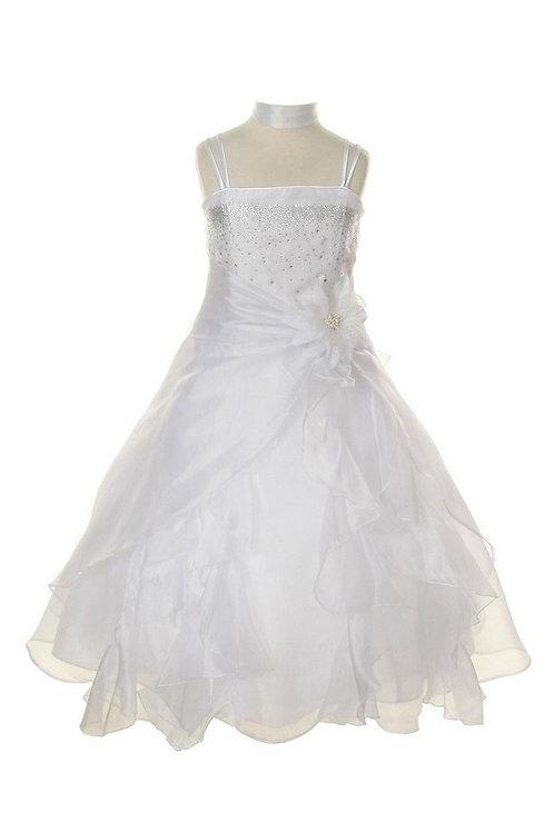 Girls Ivory Beaded Long Dress Size 12
