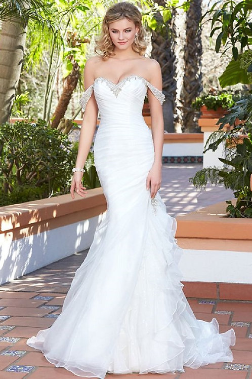Ivory Fit & Flare Off The Shoulder Bridal Gown Size 10