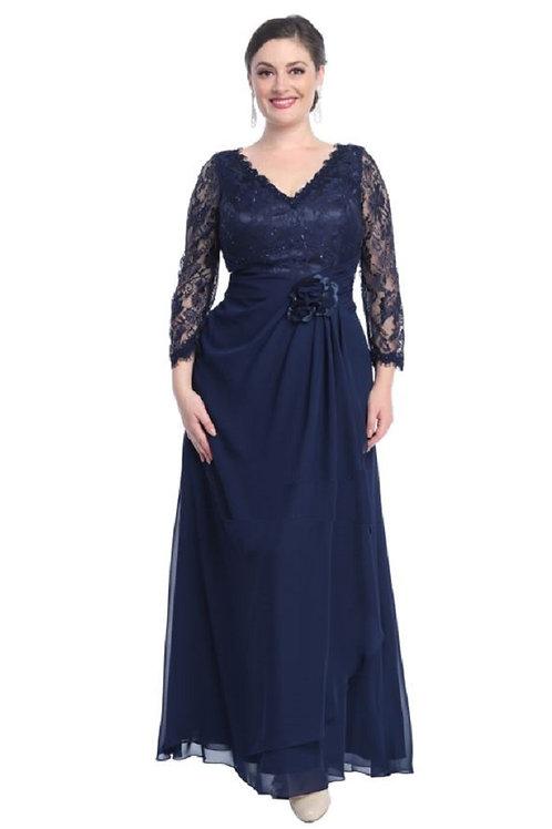 Navy Lace Top Long Dress Size 3XL