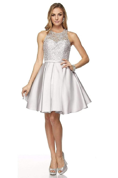 Silver Lace Short Dress Size XL