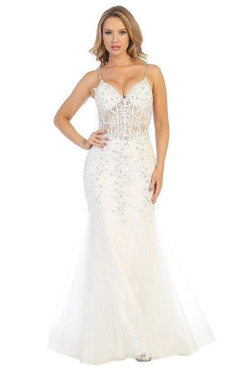 Off White Lace Fit & Flare Bridal Gown Size XS