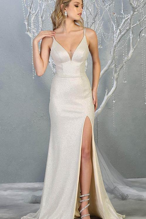 Champagne Glitter Long Dress Size 6