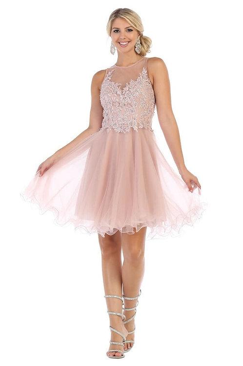 Mauve Lace Top Short Dress Size 4