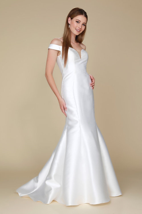 White Mikado Semi Formal Wedding Dress Size 2XL